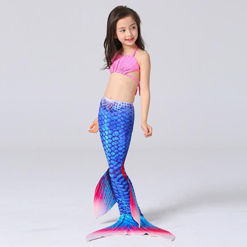 f18400c0af3b ... Girls Kids Mermaid Tail Swimmable Bikini Set Swimwear Swimsuit Swimming  Costume Girls Bathing Suit The Little ...