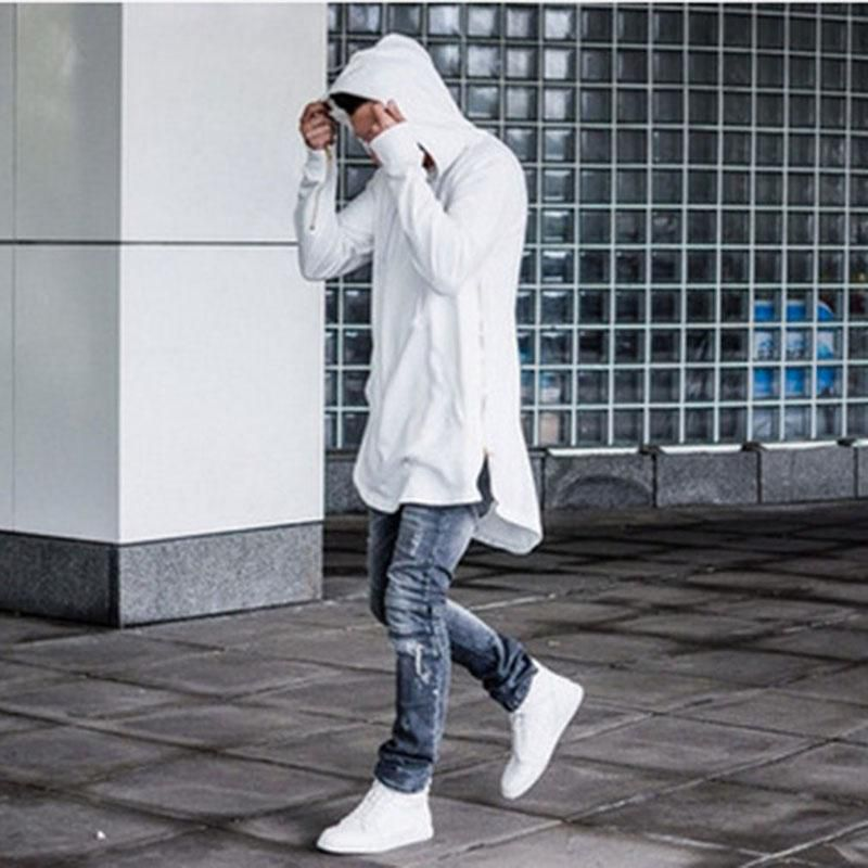 Men's Sports Hooded Side Zipper Irregular Men Hoodies Hip Hop Swag Sweatshirt