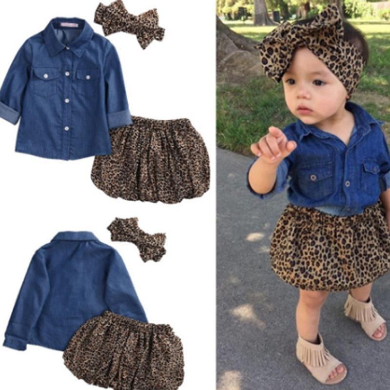 9b55a14a4 ... 3PC Toddler Baby Girls Dress Denim Shirt+Leopard Skirt+ Headband Kids  Clothes Set ...