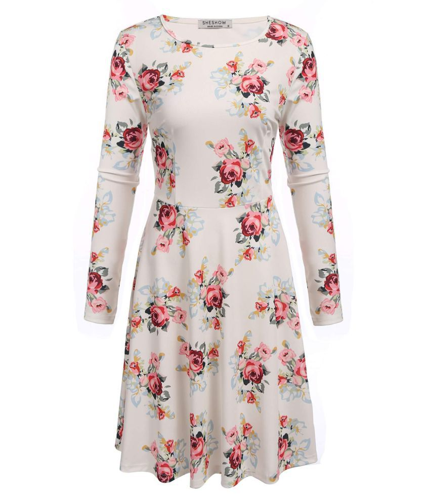 Women Casual Long Sleeve Floral  Sexy Dress