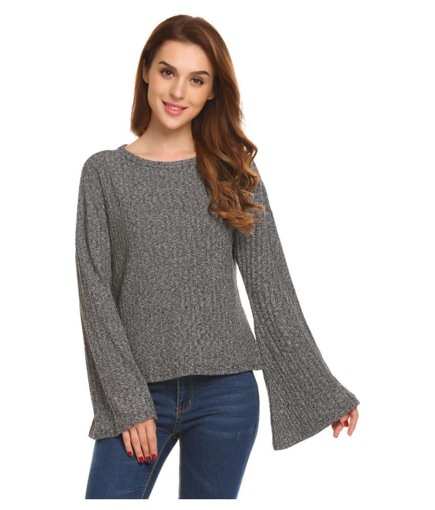 a97df6ee3 ... Women Casual Long Flare Sleeve Knitted Blouse T-shirt Tops ...