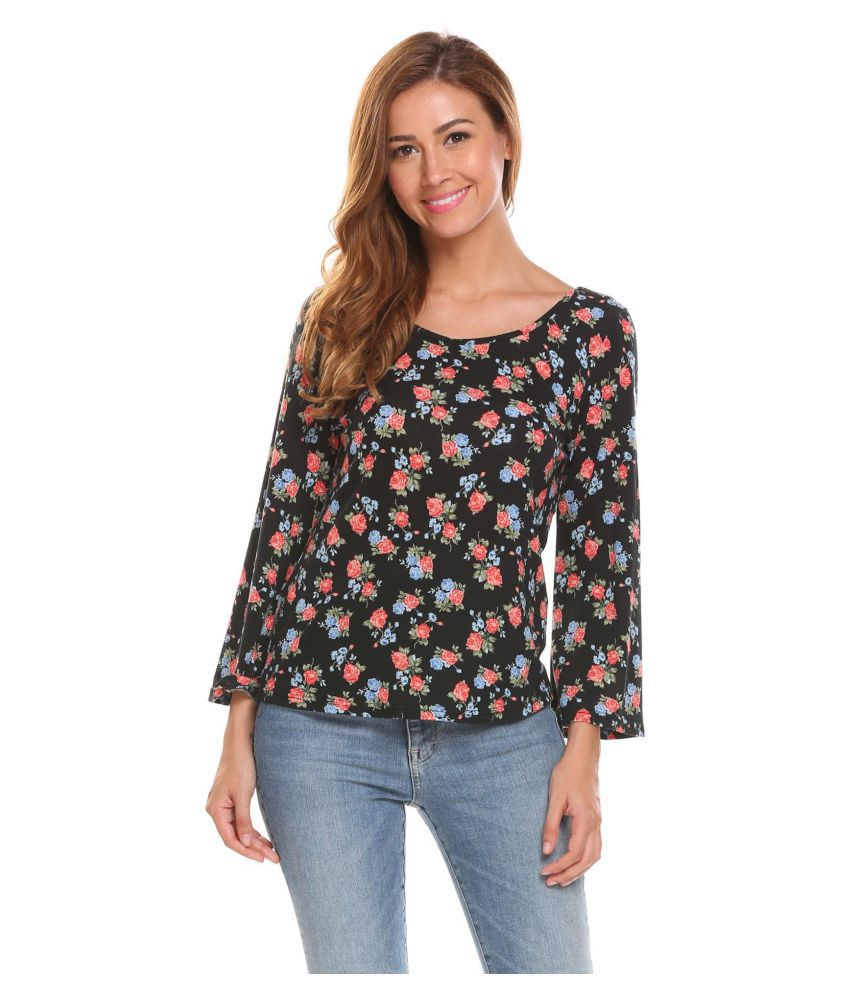 adb7bd9f3 Women Long Sleeve Hollow Out Floral Print Casual Loose T-Shirt Tops ...