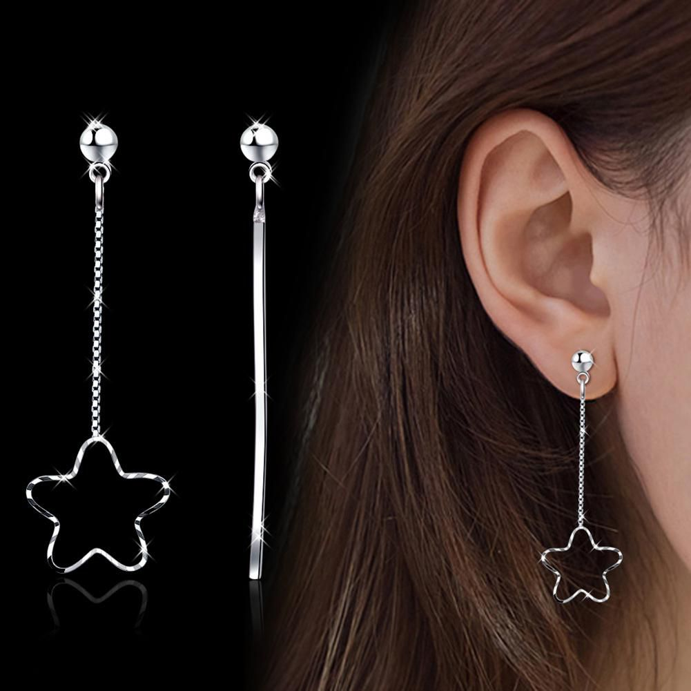Women's Fashion Asymmetric Stud Earrings Pentagram Long Taseel Drop Dangle