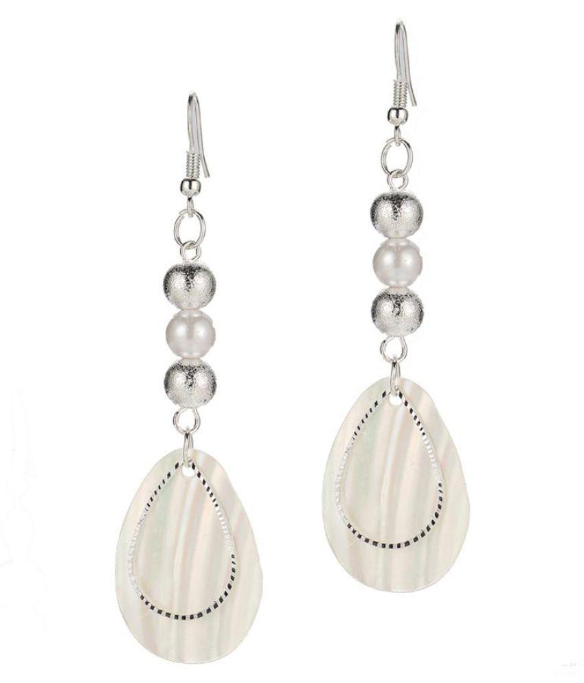 Faux Pearl Beads Shell Charm Dangle Eardrop Hook Earrings Socialite Lady Jewelry