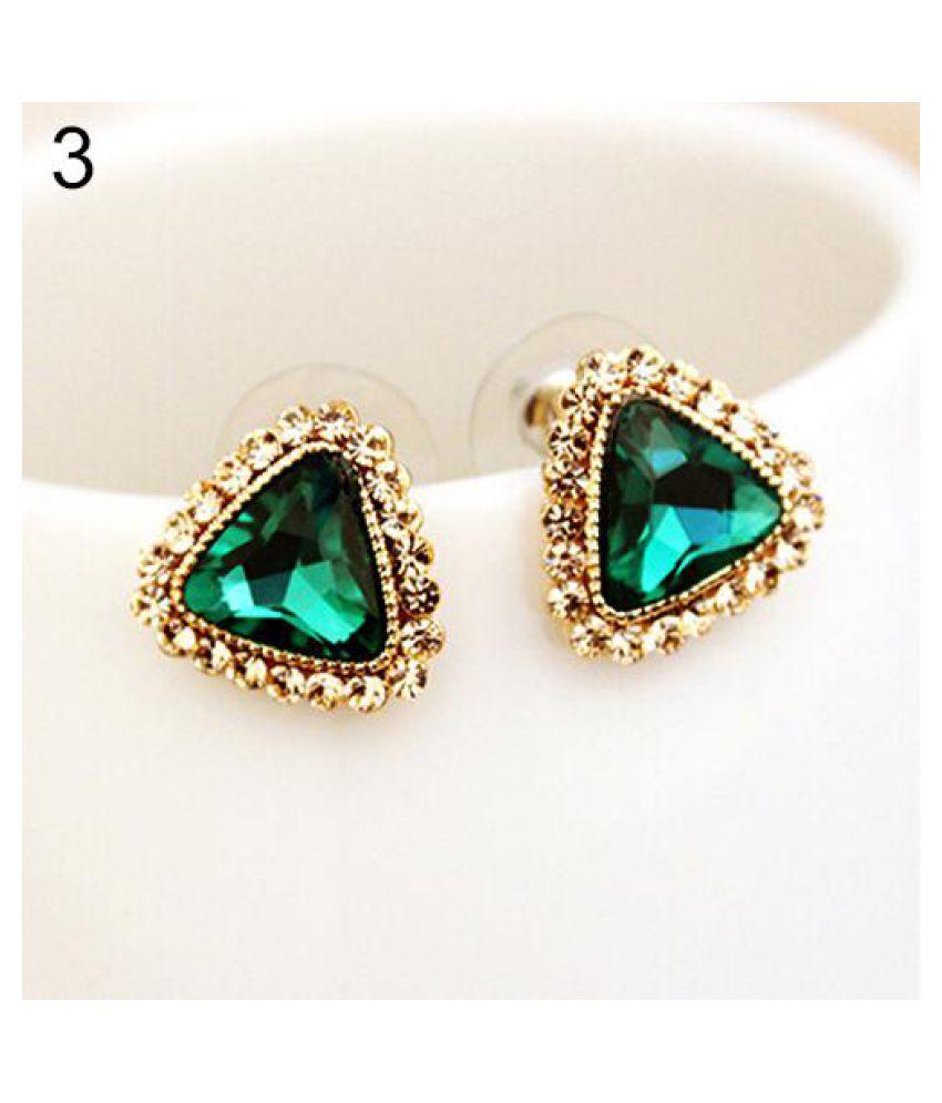 Women S Fashion Party Jewelry Triangle Crystal Golden Tone Ear Studs Earrings