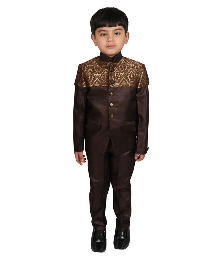 SGYUVRAJ Boys Brown Partywear Suit