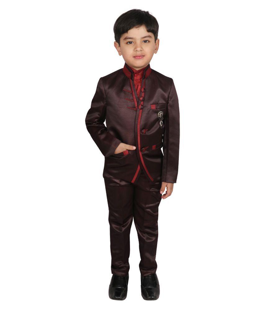 SGYUVRAJ Boys Maroon Partywear Suit