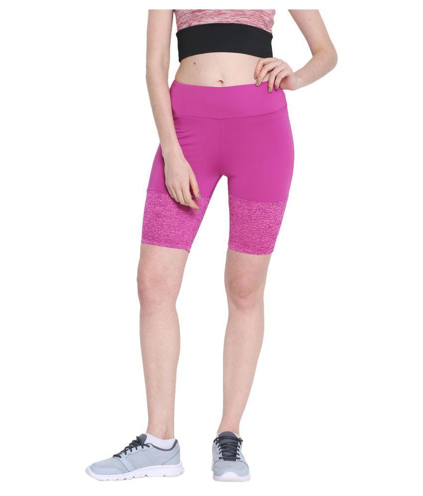 CHKOKKO Women's Polyester Stretchable Yoga Shorts