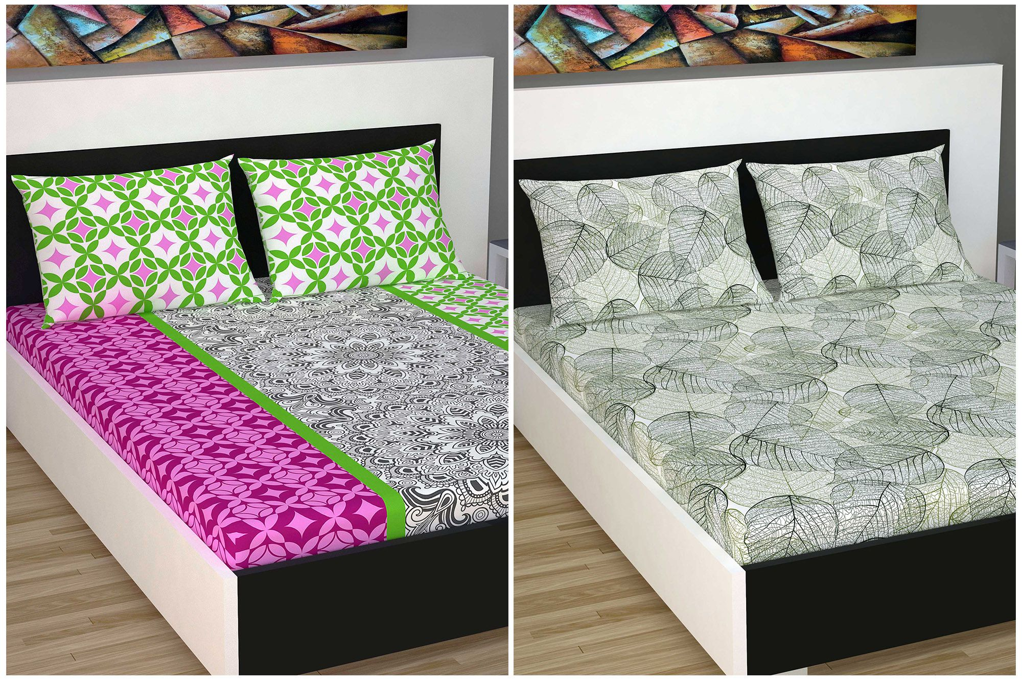 DIVINE CASA Cotton 2 Double Bedsheets with 4 Pillow Covers