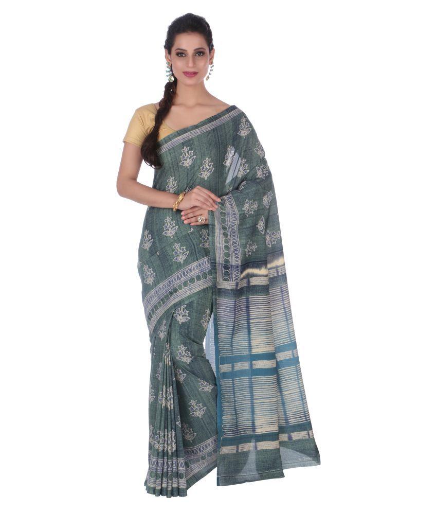 Hastakala Green Cotton Silk Saree