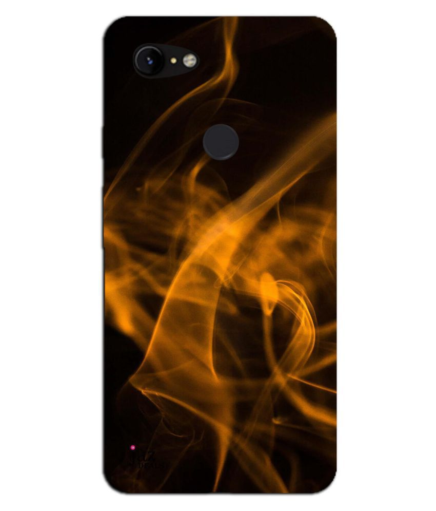 Google Pixel 3 XL Printed Cover By Jaz Deals Golden Fire Flame Print Hard Cover