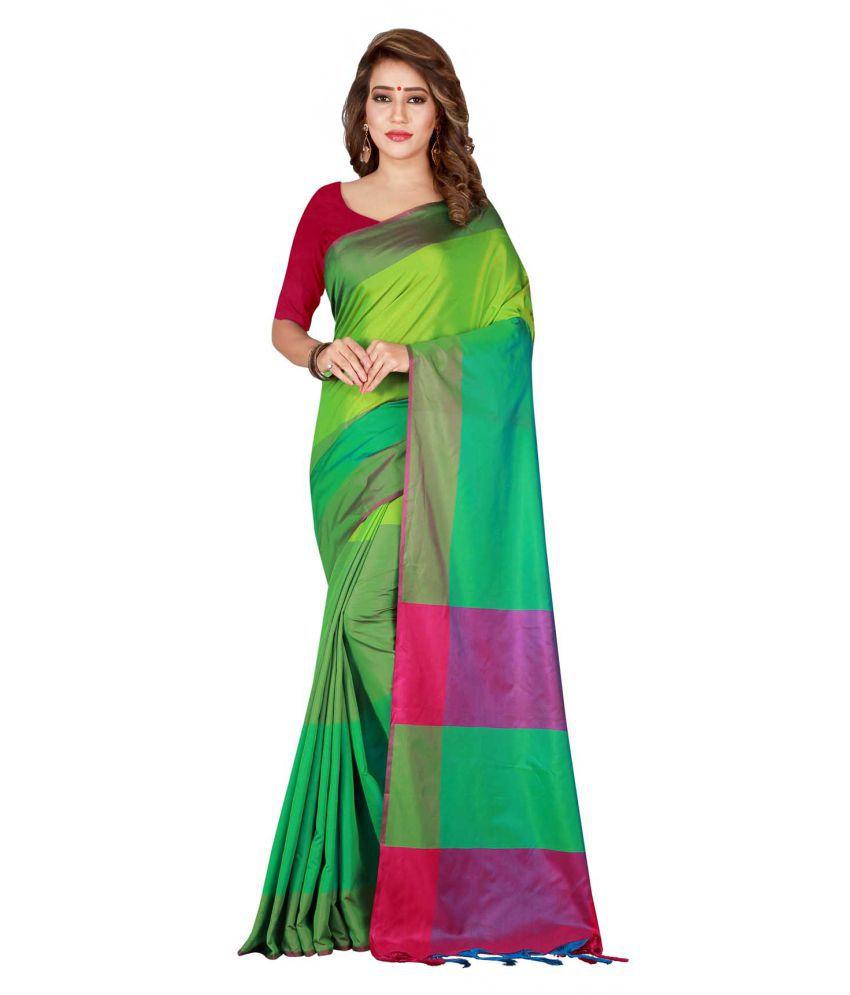 PRADEEP FASHION Green Cotton Silk Saree