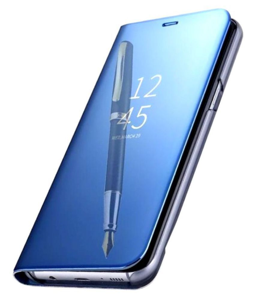 purchase cheap ec36d ddadc Samsung Galaxy J6 plus Flip Cover by Kosher Traders - Blue Blue Clear View  Mirror Flip Case With Media Stand