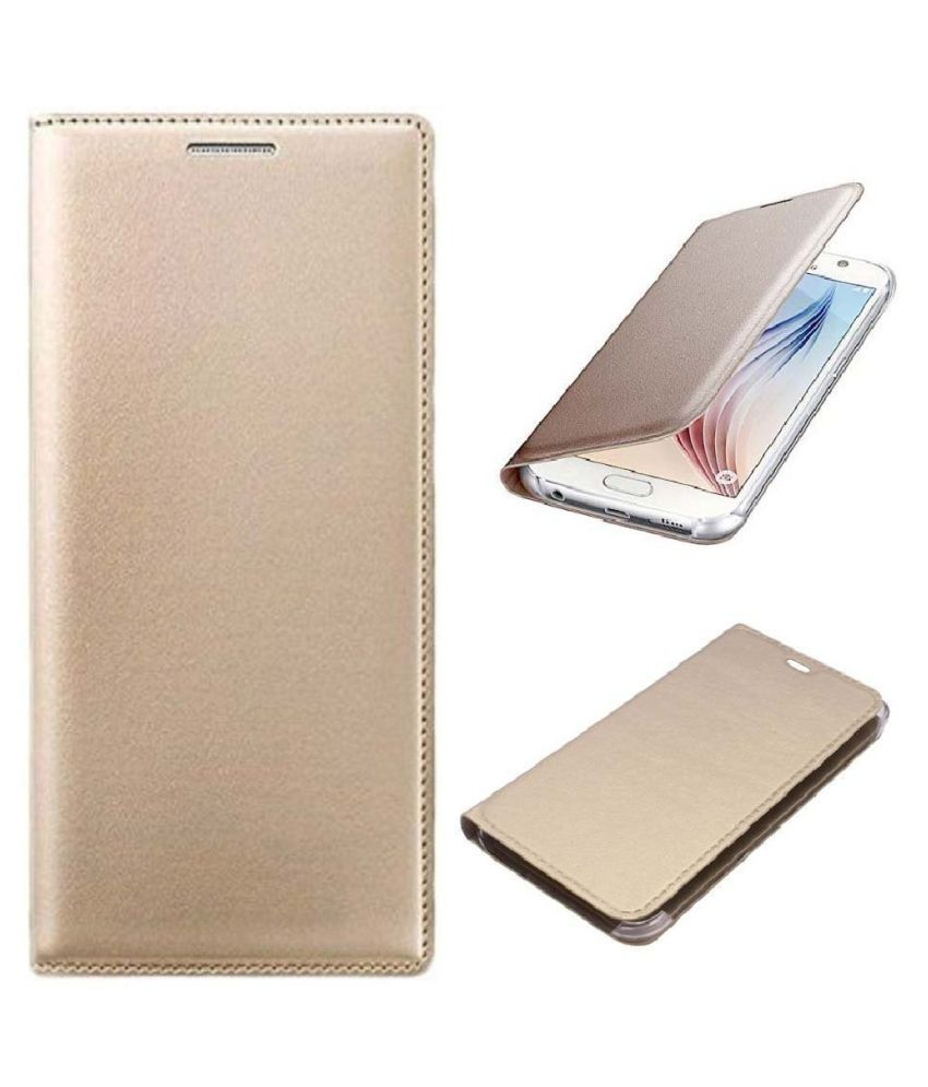 Xiaomi Redmi Note 5 Pro Flip Cover by Shanice - Golden leather flip cover