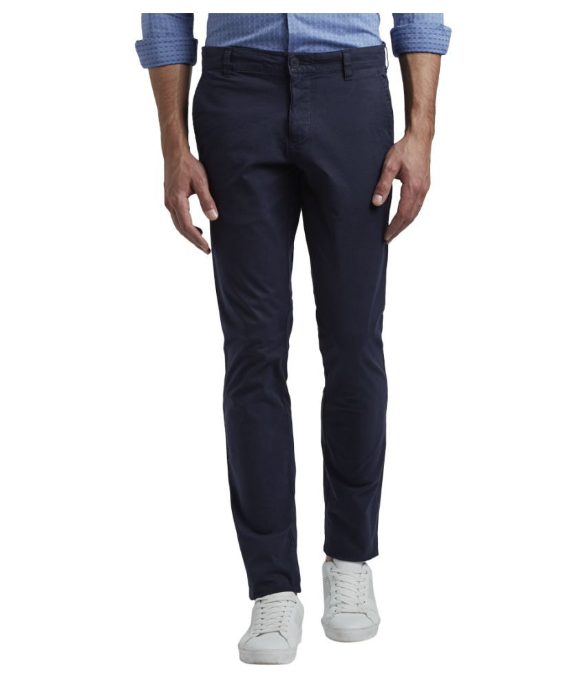 Colorplus Dark Blue Tapered -Fit Flat Trousers