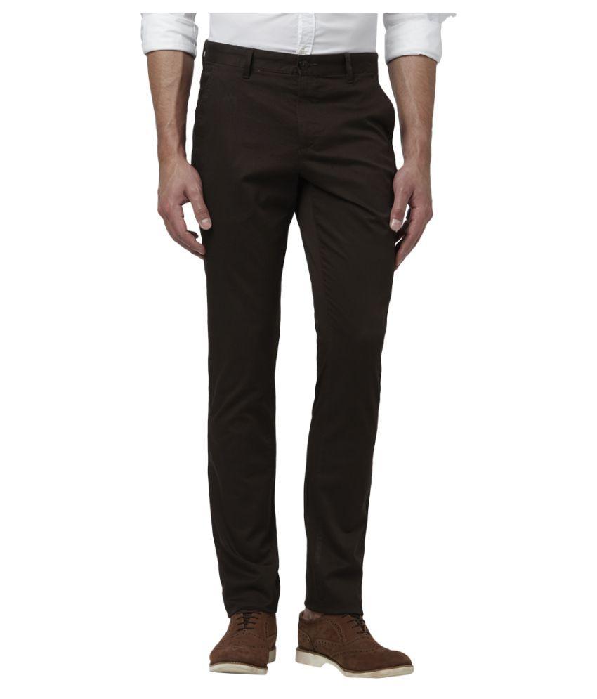 Colorplus Dark Brown Regular -Fit Flat Trousers