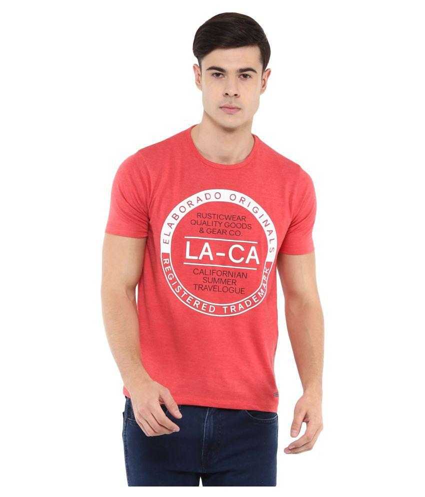 Elaborado Red Half Sleeve T-Shirt