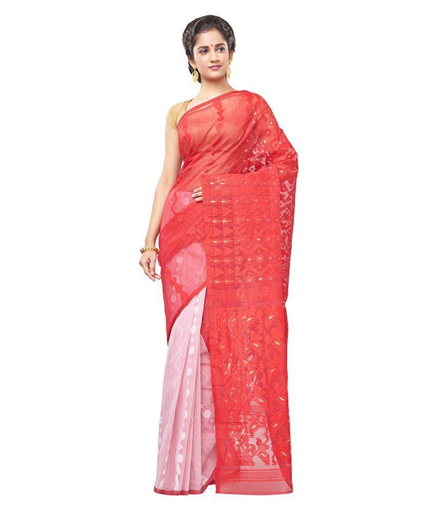 Slice Of Bengal Red Cotton Silk Saree