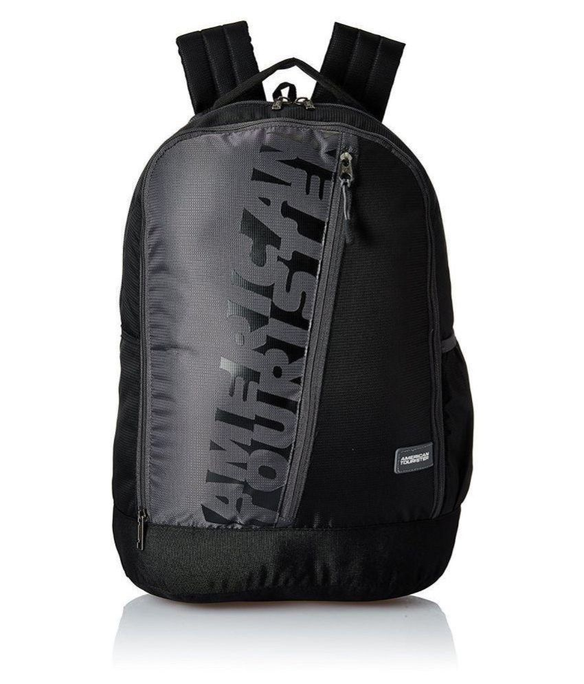 Branded Black Polyester College Bags Backpacks- 25 Ltrs