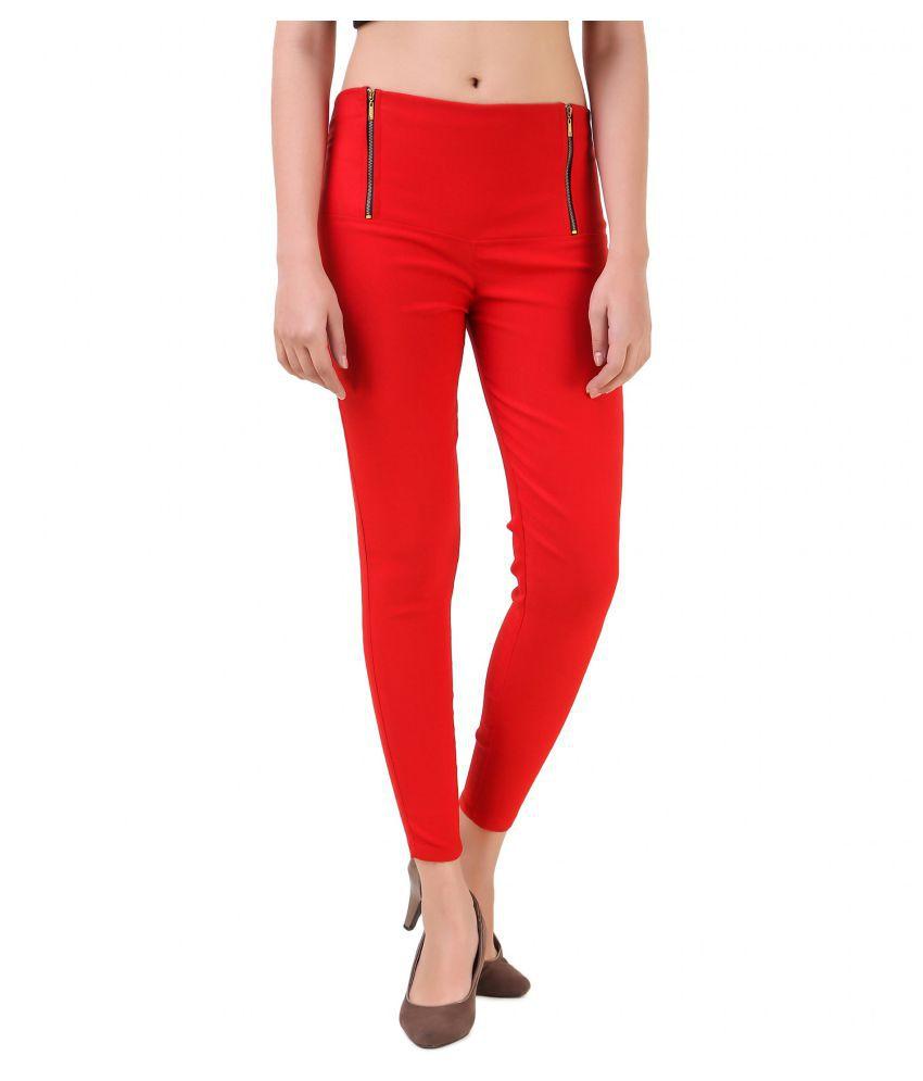 BLUSHH Cotton Lycra Jeggings - Red
