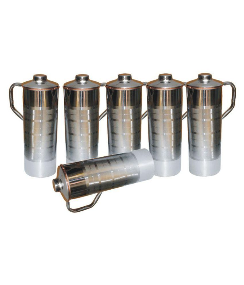 7b577b18d57 GIFTSOGRAPHY FRIDGE BOTTLE Silver 6000 ml Steel Copper Fridge Bottle Set of  6  Buy Online at Best Price in India - Snapdeal