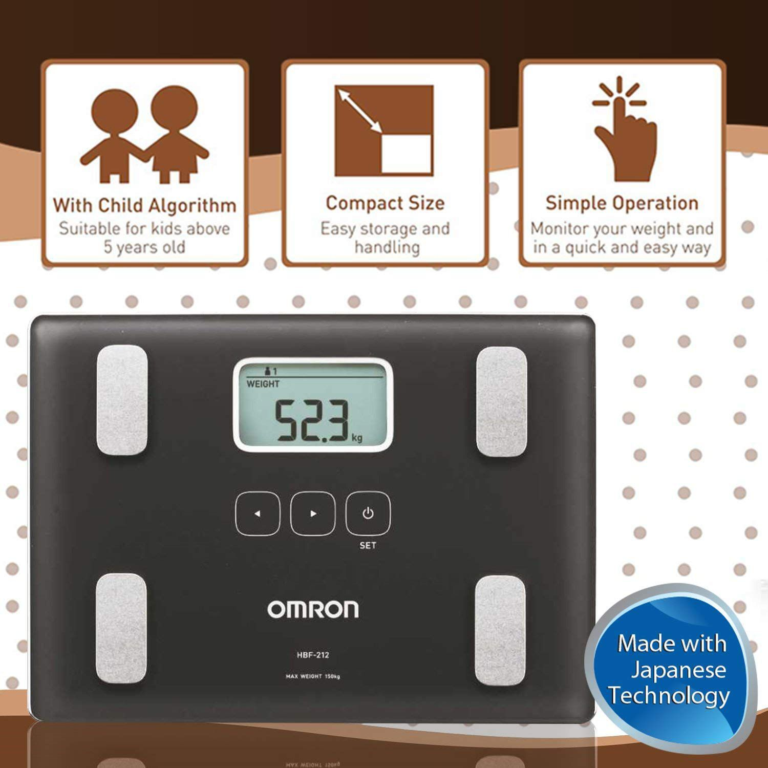Omron HBF 212 Digital Full Body Composition Monitor With 4 User & Guest (Monitor Body Fat & Weight)