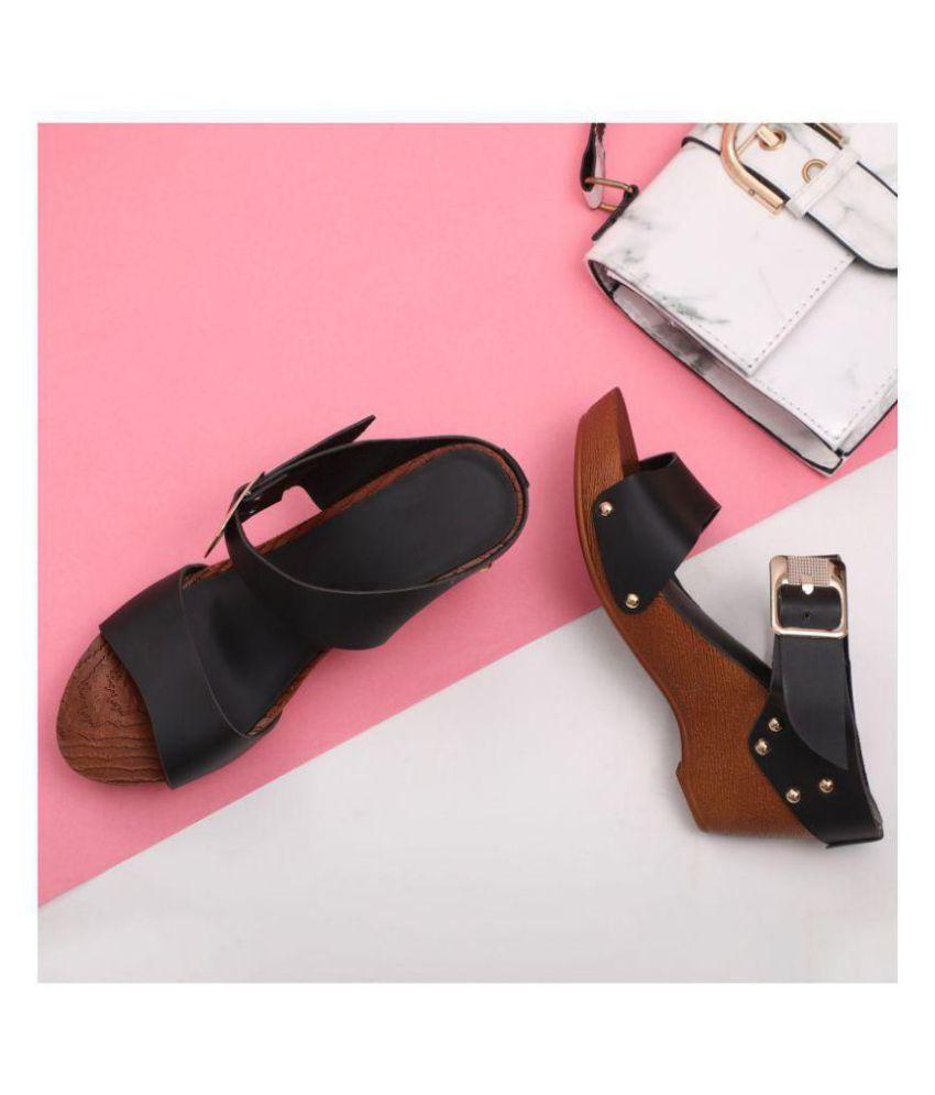 1cf10638aae Sindhi Footwear Black Wedges Heels Price in India- Buy Sindhi Footwear  Black Wedges Heels Online at Snapdeal