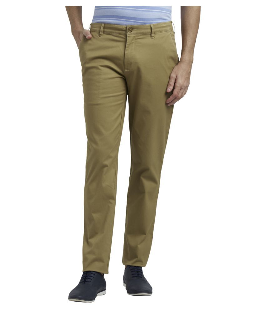 Colorplus Khaki Regular -Fit Flat Trousers