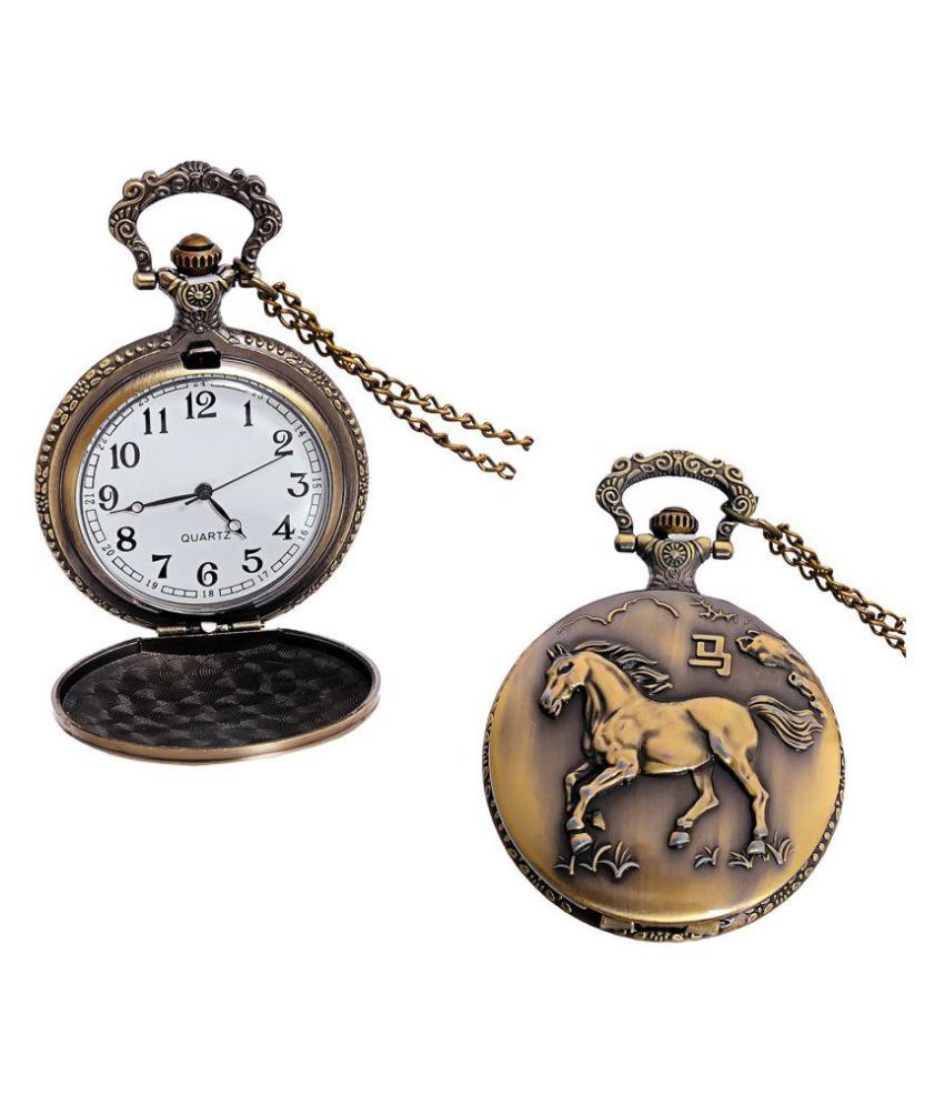 LUCKY JEWELLERY Round Analog Pocket Watch Chain