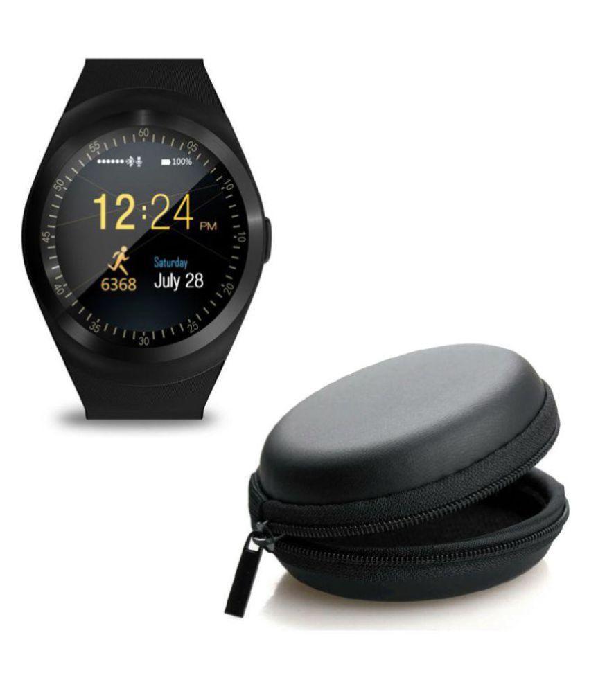 Drumstone Y1 Smart Watches - Black Y1Watch+Black Round Pouch