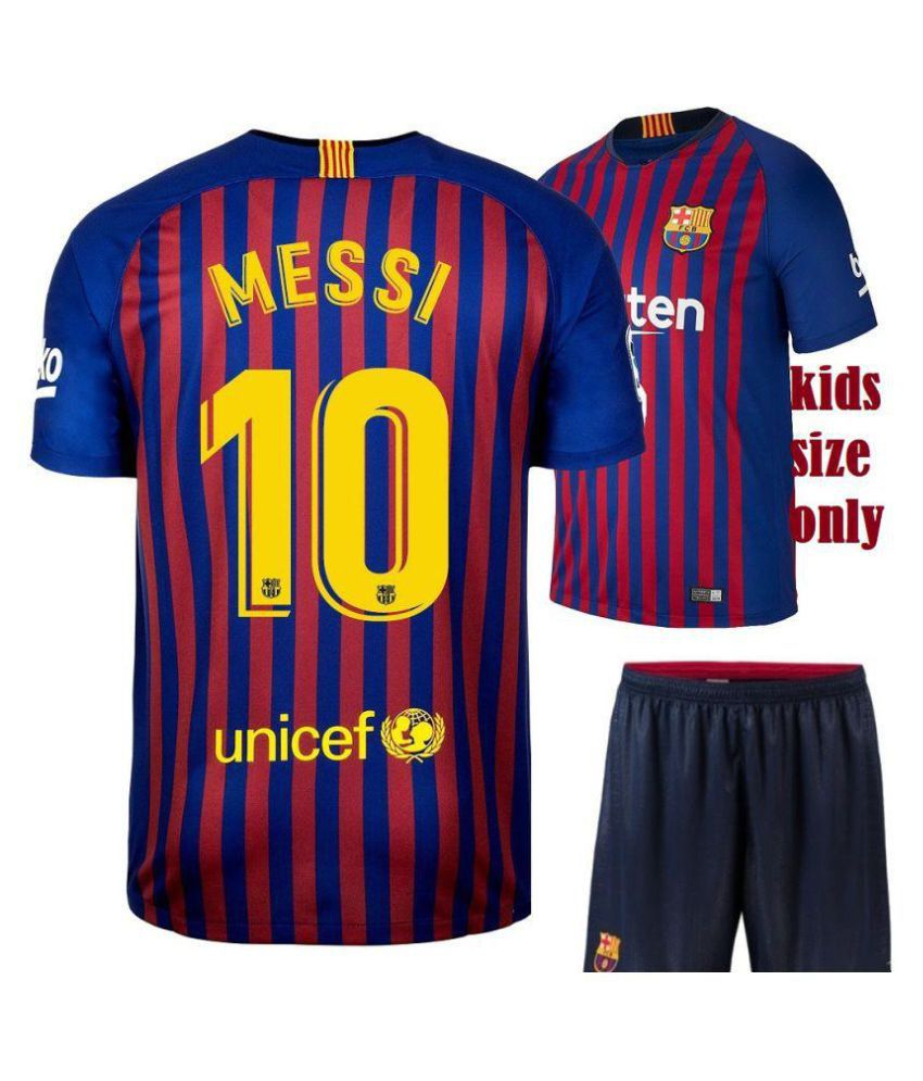 brand new f655f 231c6 Baecelona Messi Printed Jersey With Shorts For Kids 18/19 Football Kit