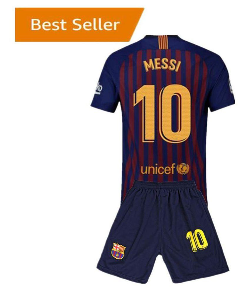 brand new a2f7a 156fb Baecelona Messi Printed Jersey With Shorts For Kids 18/19 Football Kit