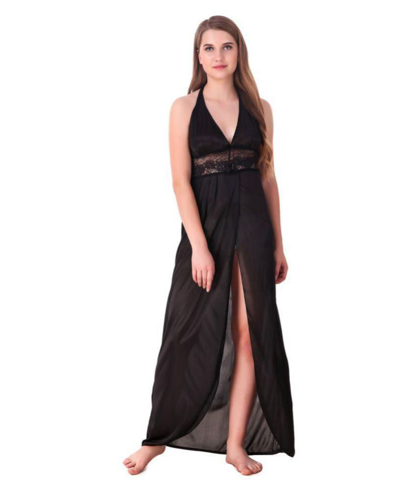 691daab893 Buy keoti Satin Night Dress - Black Online at Best Prices in India -  Snapdeal
