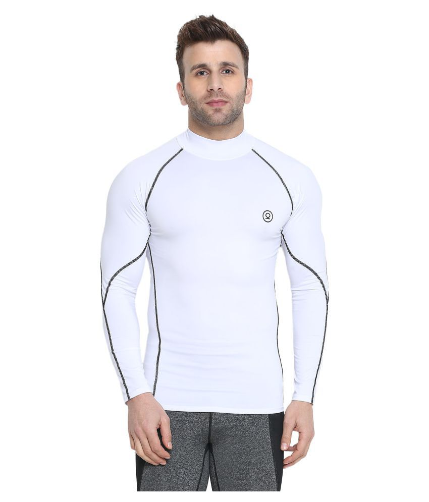 CHKOKKO Men's Compression High Neck Full Sleeve High Performance Plain Cool Dry Fit Athletic Fit Gym Sports Stretchable Tshirts for Men