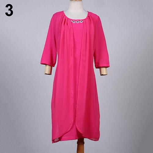 Fashion Lady Women Plus Size Pure Color Loose Half Sleeve Casual Summer Dress