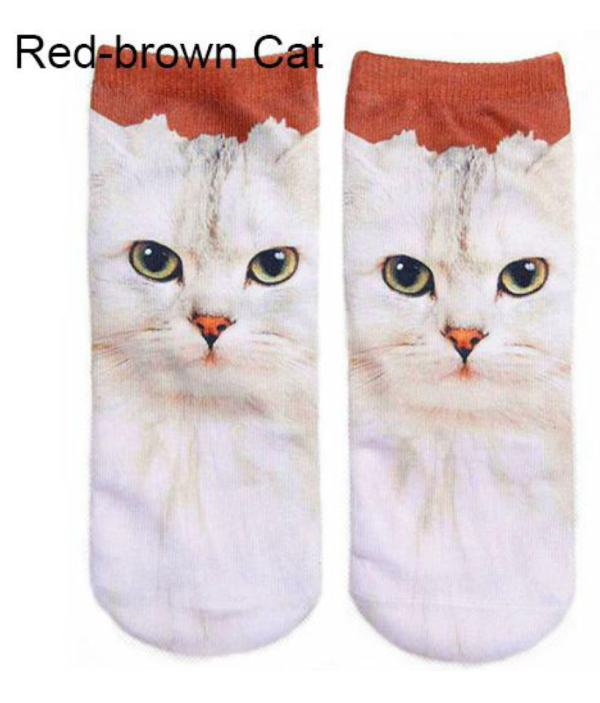 Unisex 3D Fashion Printed Animal Casual Breathable Cute Cat Low Cut Ankle Socks