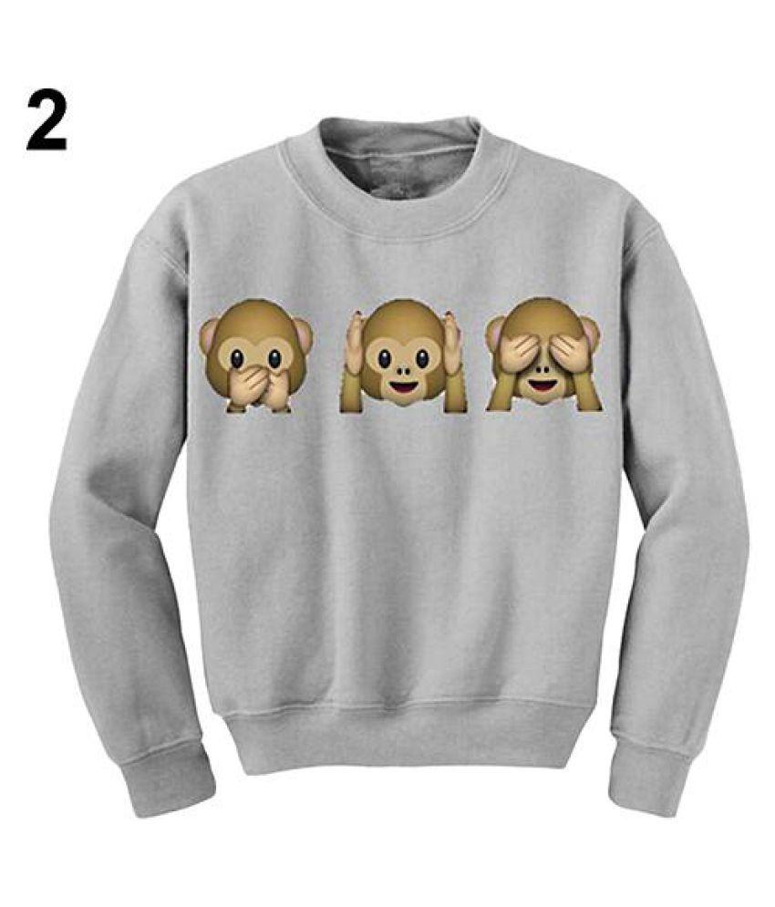 Women Funny 3D Emoji Monkeys Sweats Sweatsuit Pullover Hoodie Top Sport Wear