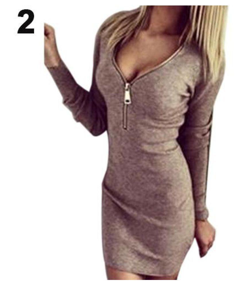 530bf9842b42 ... Women's Sexy Zip V Neck Long Sleeve Winter Bodycon Party Slim Short  Mini Dress