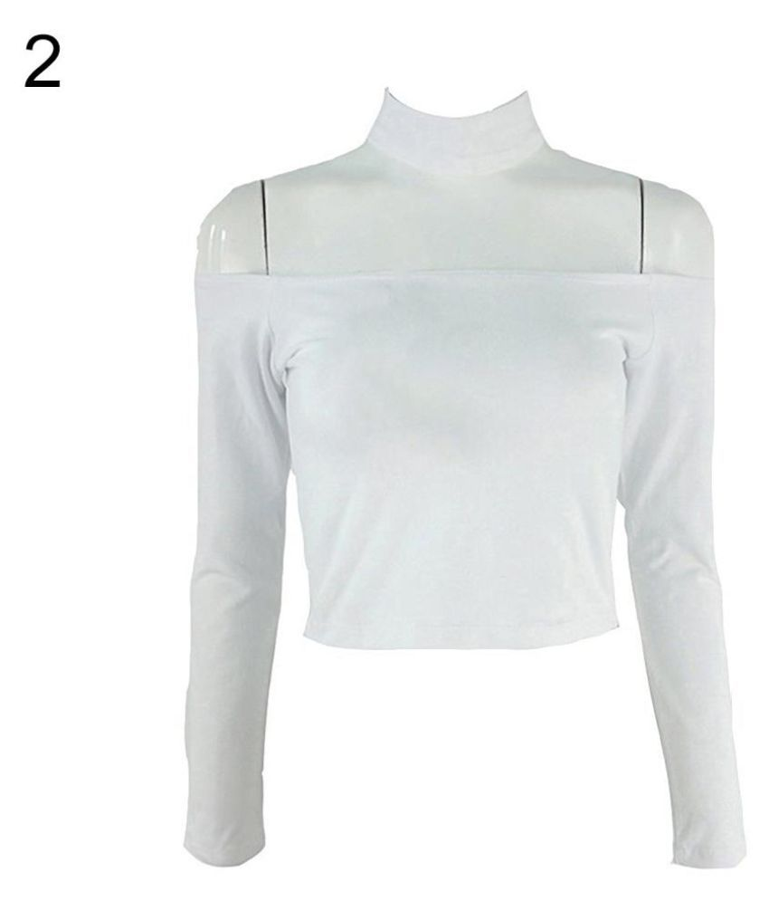 9746b89b1a595 Buy Sexy Off Shoulder Summer Long Sleeve Slim T-Shirt Choker Halter  Strapless Top Online at Best Prices in India - Snapdeal