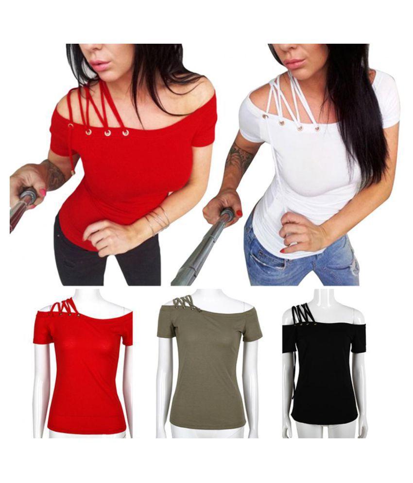 dbb8adbc3 ... Women Sexy Asymmetry Strappy Off Shoulder T-Shirt Summer Fashion Tee  Shirt Top ...
