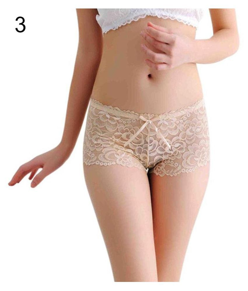 59d0fa77d36b Buy Women's Free Size Bow Floral Lace Briefs Sexy Sheer Boyshorts Panties  Underwear Online at Best Prices in India - Snapdeal