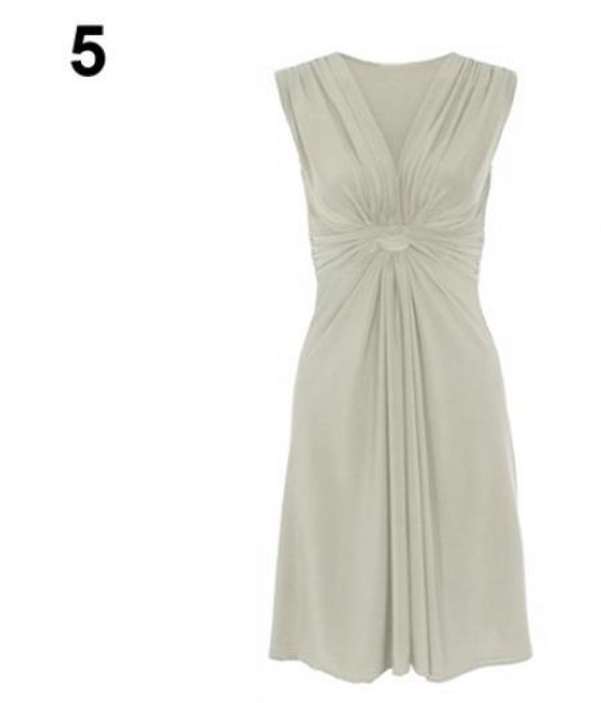Women's Summer Sexy V-Neck Sleeveless Ruched Solid Color Bodycon Party Dress