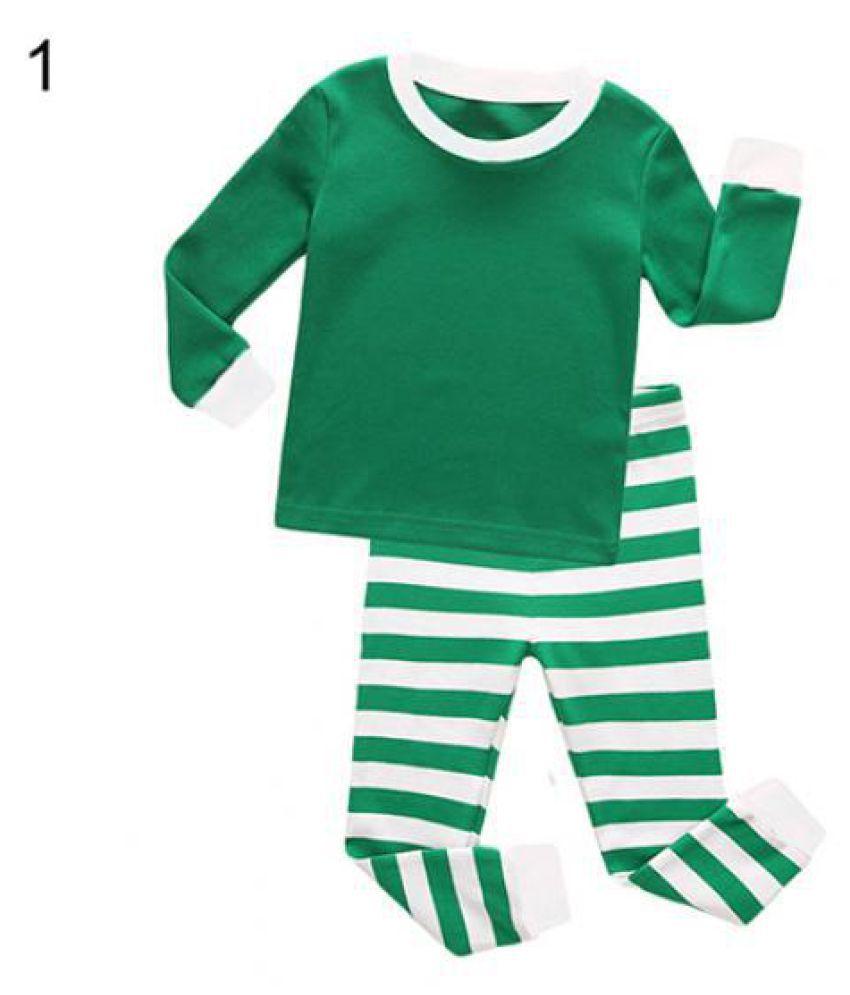 Fashion Children Adult Family Matching Christmas Stripes Sleepwear Nightwear Pyjamas