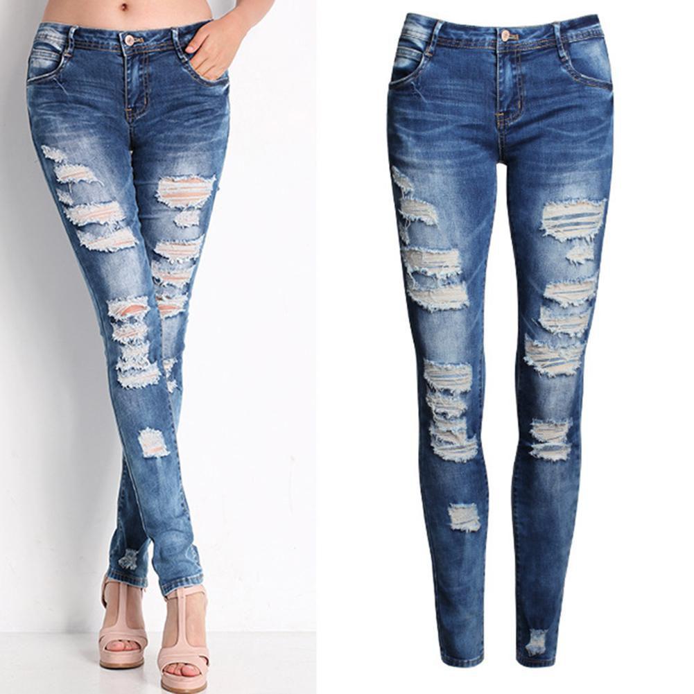 af72eaa4d5701 Ladies Sexy Ripped Jeans Casual Elastic Denim Slim Pencil Long Pants Gift -  Buy Ladies Sexy Ripped Jeans Casual Elastic Denim Slim Pencil Long Pants  Gift ...
