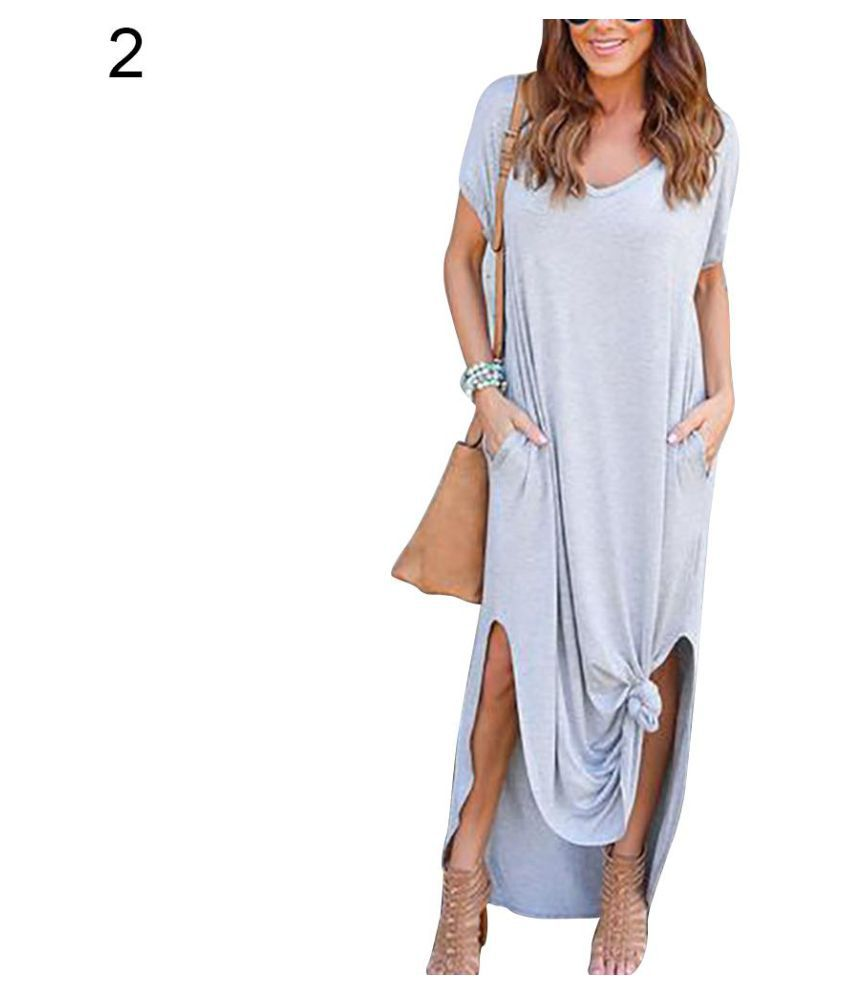 0b3e1c6466c3 Casual Women V-Neck Short Sleeve Solid Color Split Pocket Loose Long Maxi  Dress - Buy Casual Women V-Neck Short Sleeve Solid Color Split Pocket Loose  Long ...