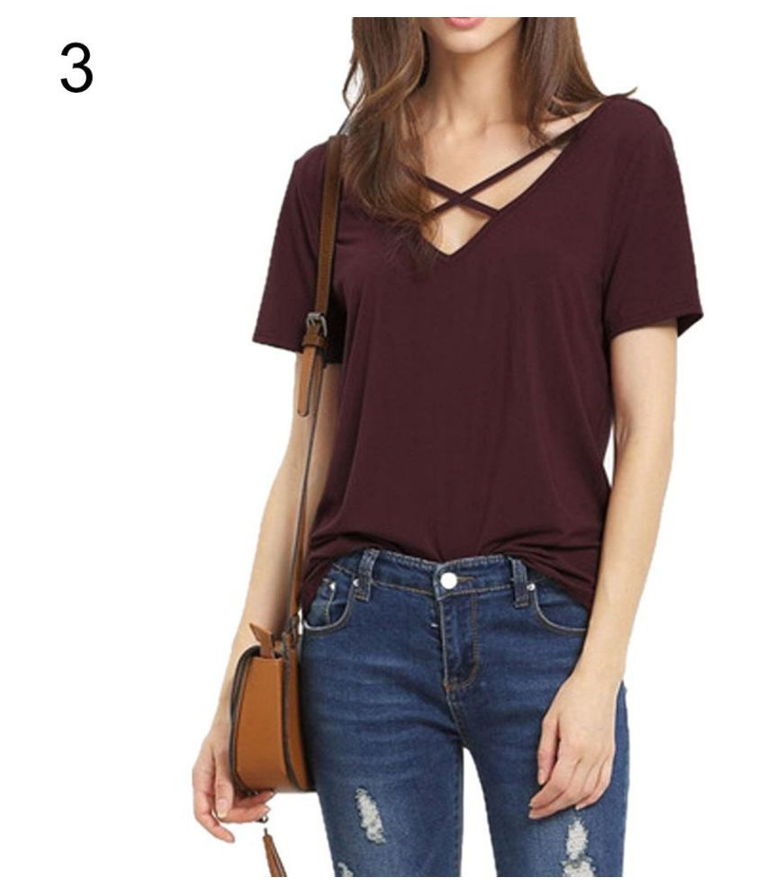 6af5e5599f1467 Buy Fashion Women Deep V-neck Crossed Strap Short Sleeve T-shirt Casual Tee Shirt  Online at Best Prices in India - Snapdeal