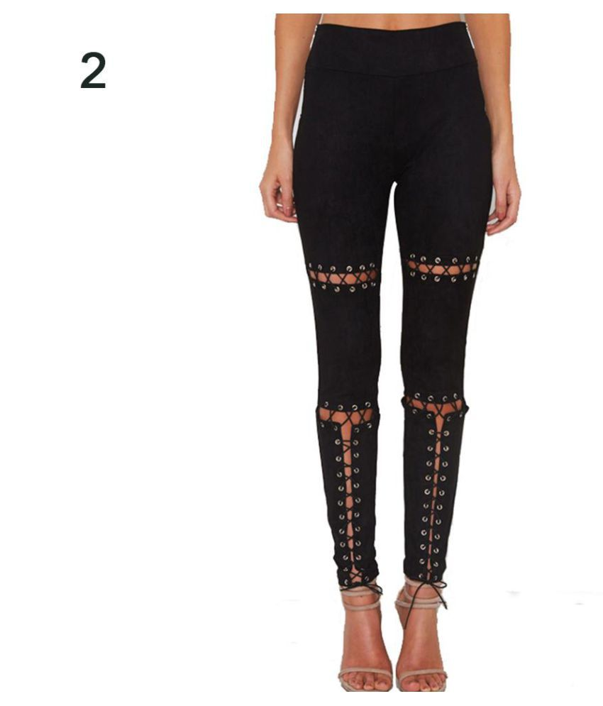 9c3d2427b6ee4 Buy Sexy Hollow Out Lace Up Bandage Slim Skinny Pencil Pants Leggings Lady  Trousers Online at Best Prices in India - Snapdeal
