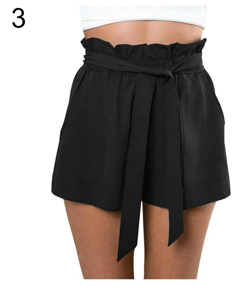 abfa788cca Buy Women Casual Loose Summer Beach Bow High Waist Belt Shorts Hot ...