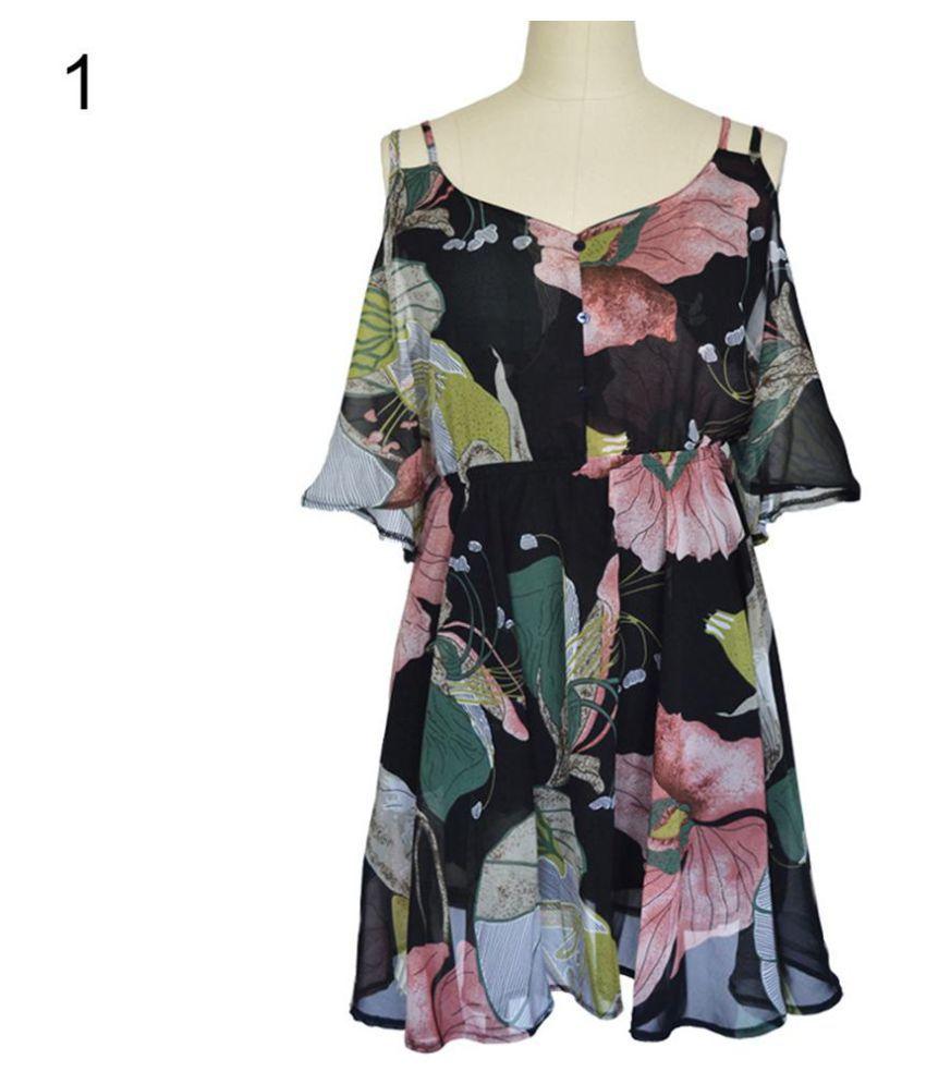 Women Sexy V-neck Harness Dress Off Shoulder Floral Ruffled Chiffon Mini Dress