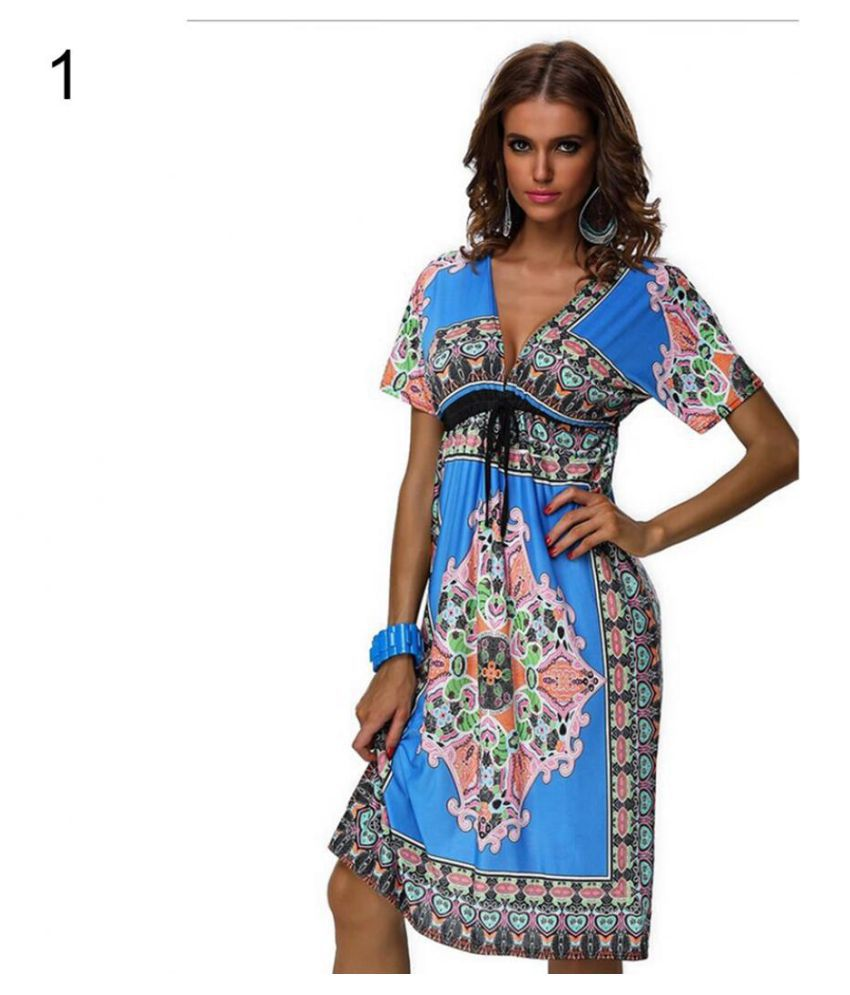 Women Summer Beach Sexy V-neck Totem Sundress Loose Bohemian Casual Dress